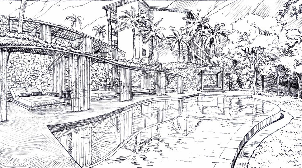 The sketch for the enhanced signature pool area with new luxury cabanas