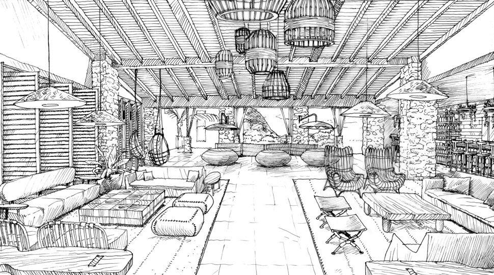 A designer's sketch of the lobby at Four Seasons Resort Costa Rica at Peninsula Papagayo.
