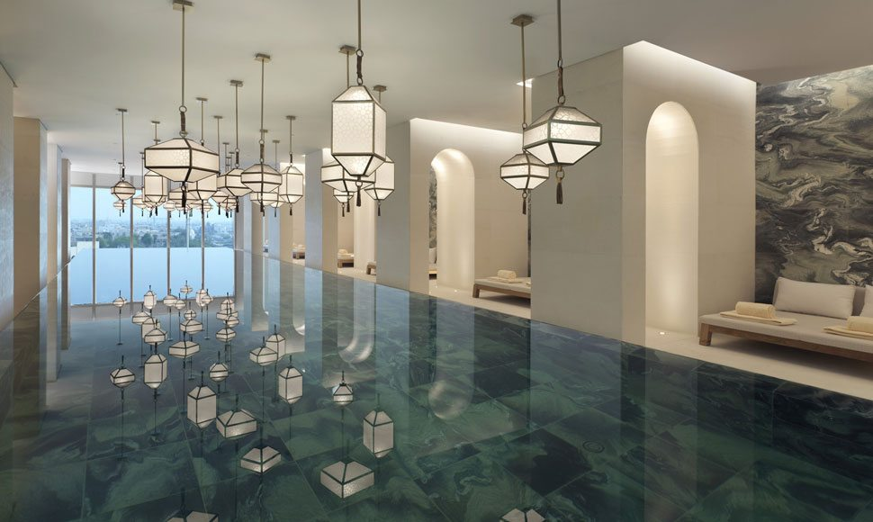 Indoor infinity pool at Four Seasons Hotel Kuwait