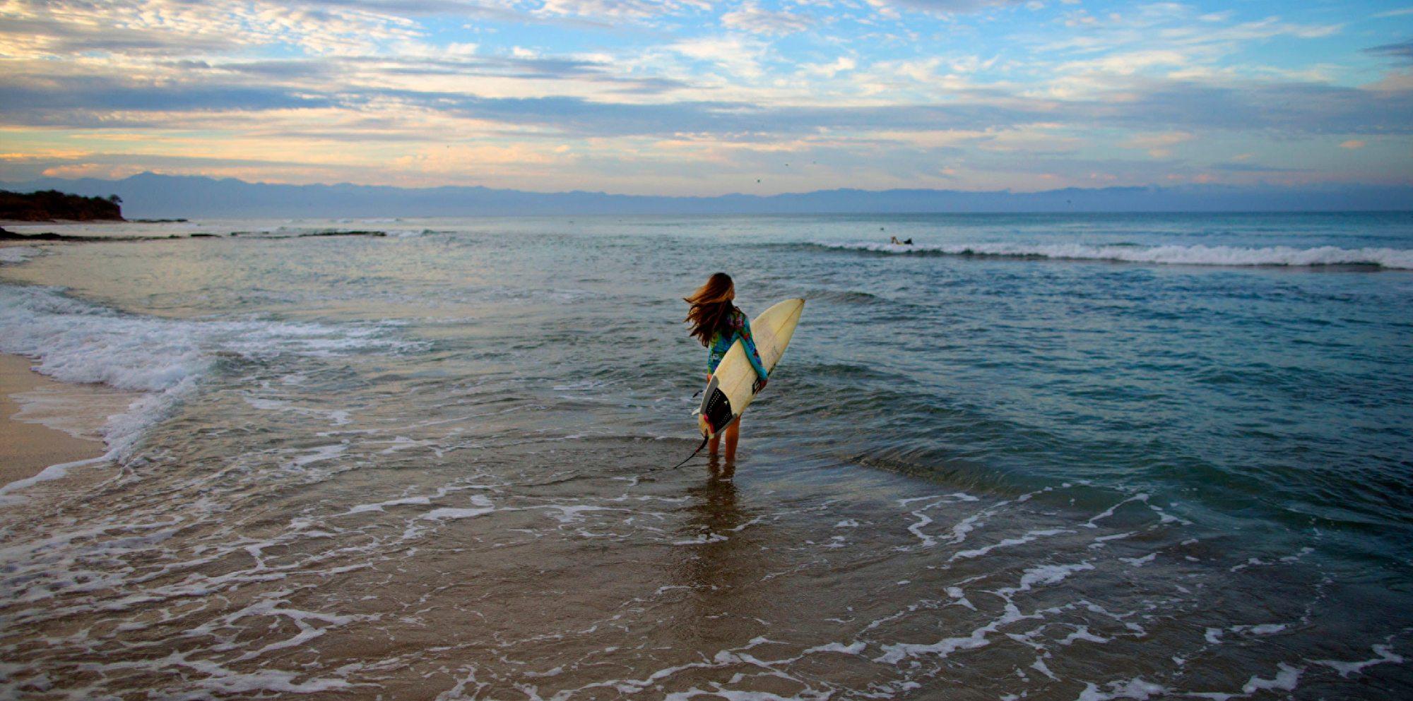 Female surfer in Punta Mita