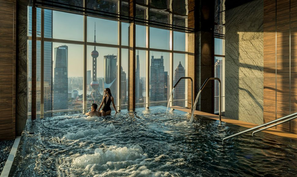 Indoor pool at Four Seasons Hotel Shanghai Pudong