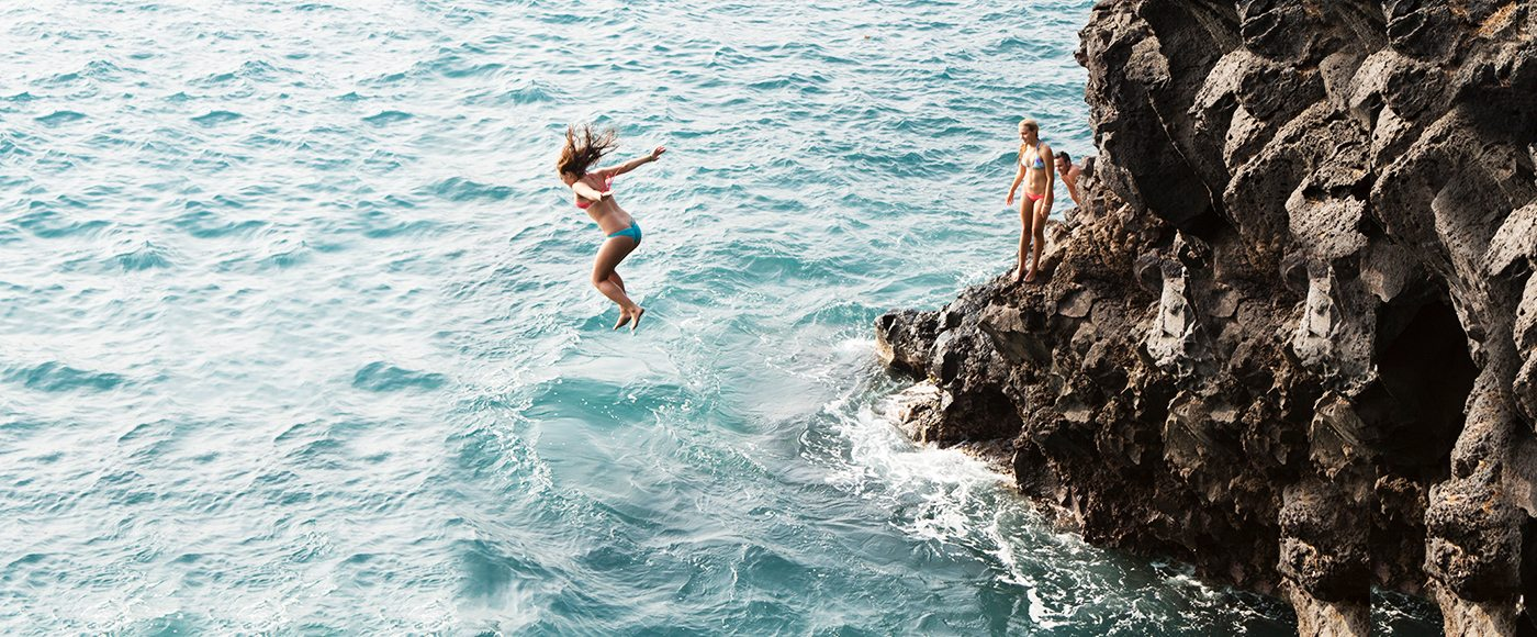 Cliff-jumping in Hawaii