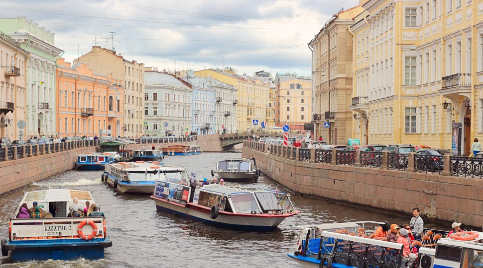 River boats on the Moyka River, St. Petersburg