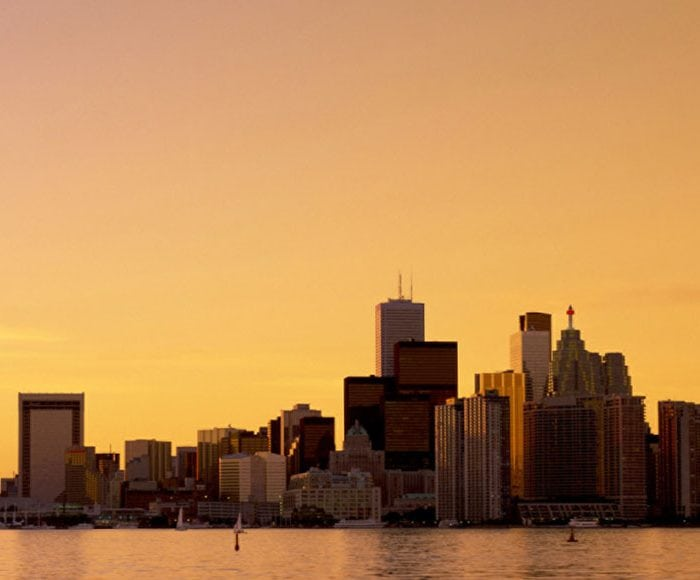 The Toronto skyline at sunset