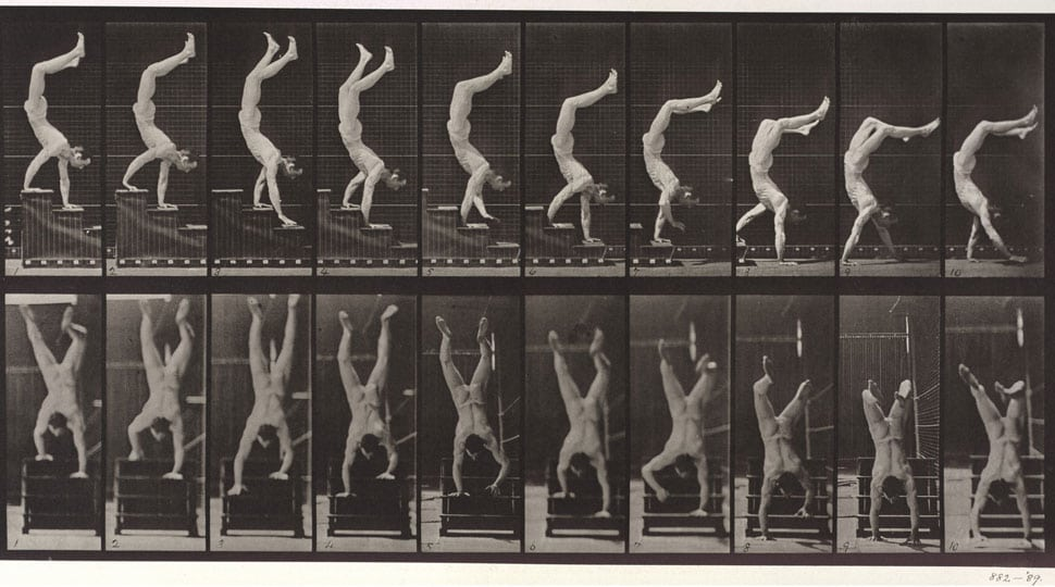 Eadweard Muybridge 'Man performing a handstand on stairs' 1887 Collotype