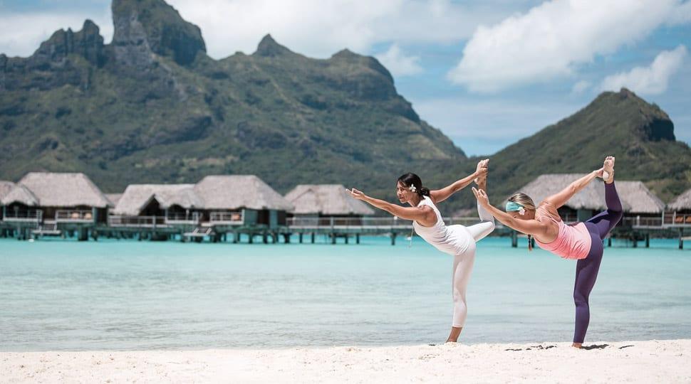 Yoga on the beach Bora Bora