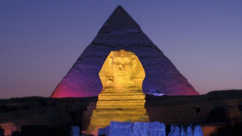 Private Sphinx and Pyramid Light Show