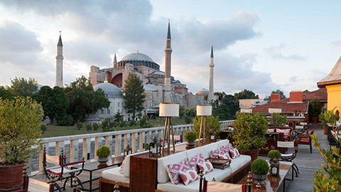 Aya Lounge with the Hagia Sophia in the background