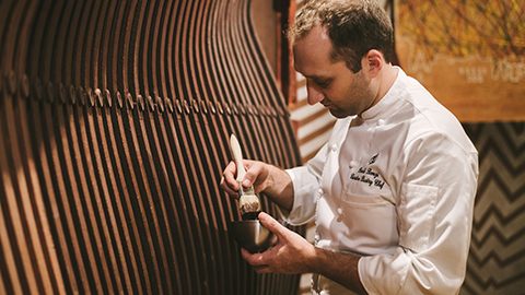 Painting chocolate walls in the Chocolate Room
