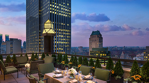 Private suite terrace facing the city's iconic skyline