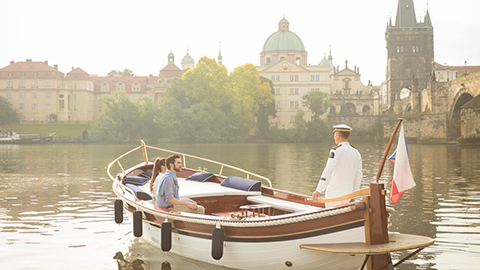 Wooden Riverboat on the Vltava