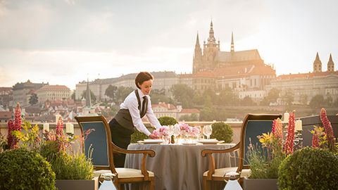 Sunset views in Prague from rooftop terrace