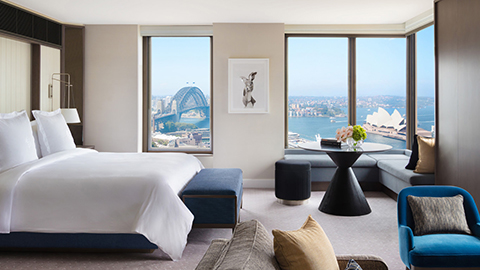 Bird's-eye view of Sydney Harbour and its famous opera house, from your room