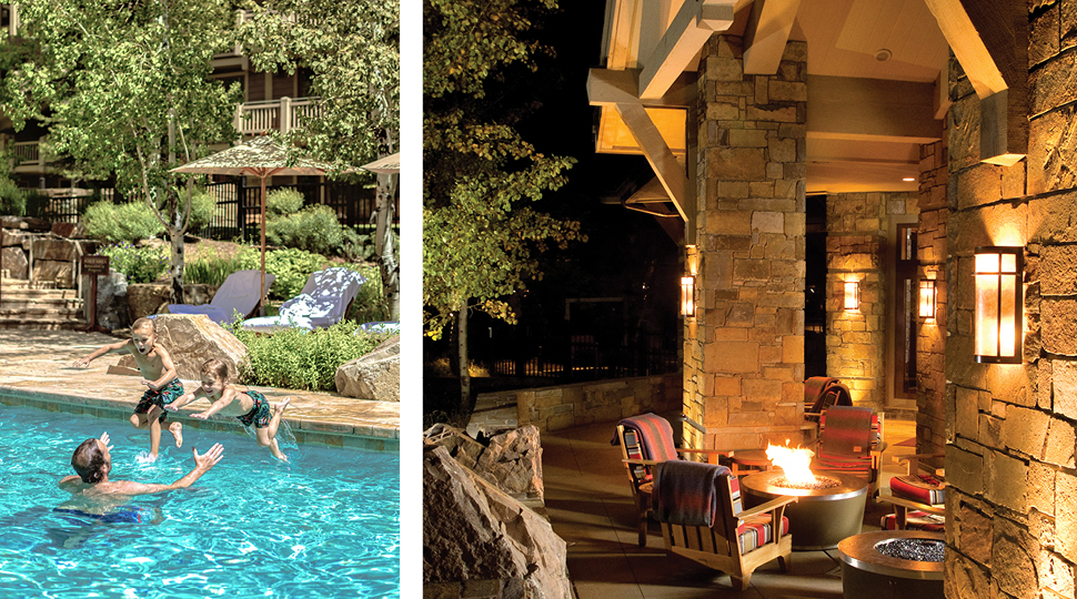 Kids jumping in pool/outdoor fireplace