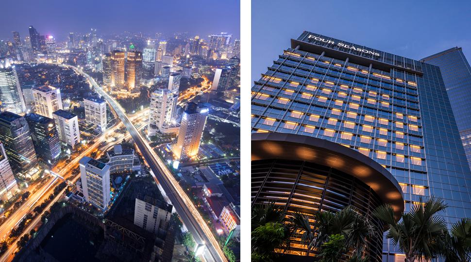 Jakarta skyline and Four Season Hotel Jakarta exterior