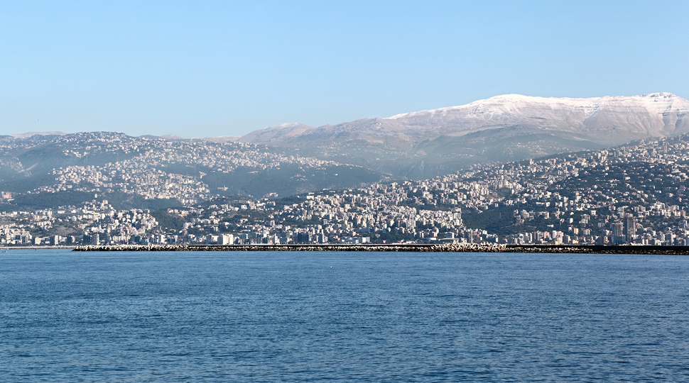Lebanon Mediterranean And Snow Capped Mountains