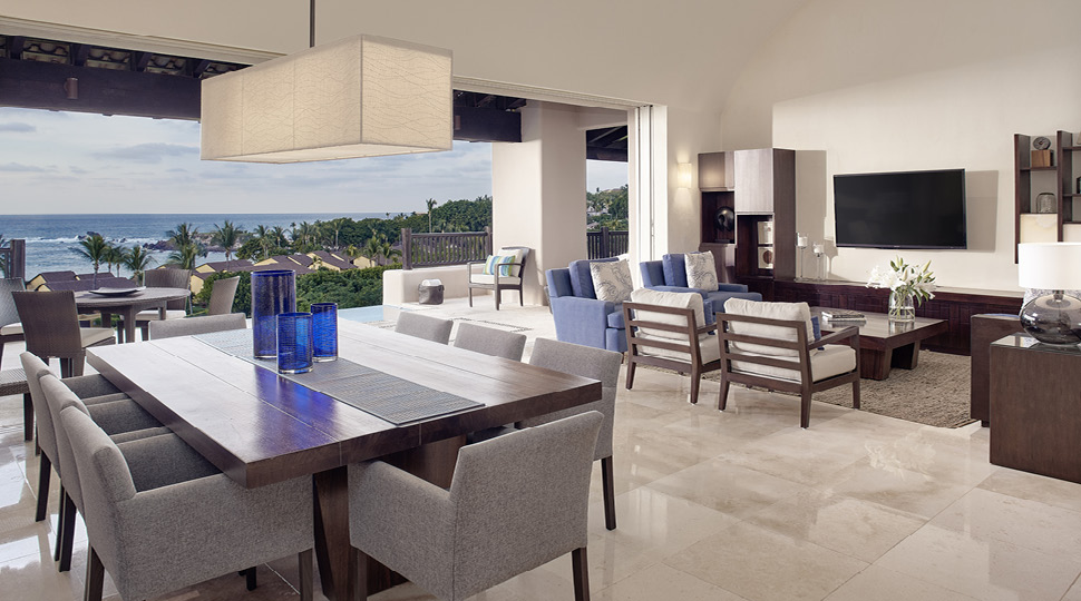 Dining Area and Living Room at Four-bedroom Ocean-view