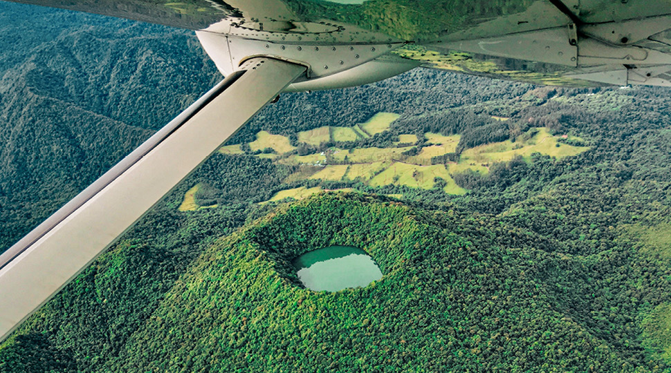 Aerial view of Costa Rican volcanic mountains