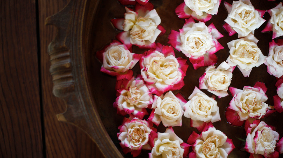 Roses in a spa bowl