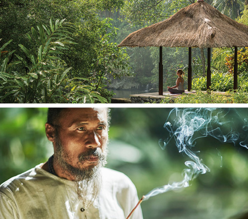 Top: A women mediating with a jungle view Bottom: A close up of a man burning insense