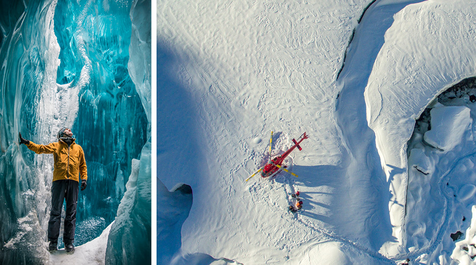 Left: A man in a yellow jacket inside of an ice cave Right: An aerial view of a helicopter in the snow