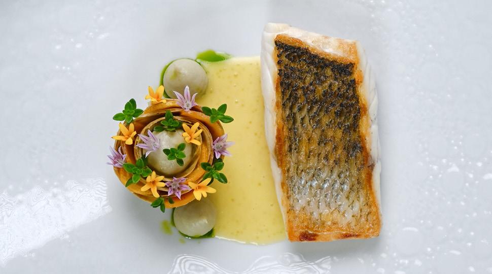 Wild sea bass with smoked pike caviar